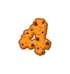 Number 4 cookies font oatmeal biscuit alphabet vector