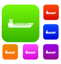oil tanker ship set collection vector image