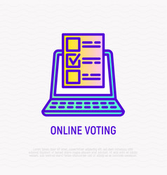 Online voting thin line icon vector