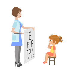 ophthalmologist checking little girl eyesight vector image