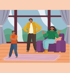 Parent adolescent conflict problems adults vector