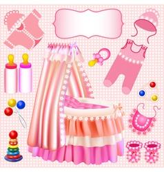 Pink set children cradle beanbag vector