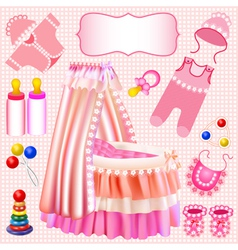 Pink set of childrens cradle beanbag vector