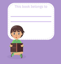 Place for book owner name and boy vector