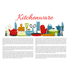 Poster of kitchenware and dishware items vector