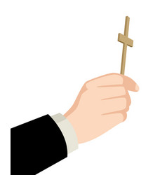 priest hand holding holy cross vector image