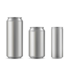 realistic aluminium can set soda drink container vector image