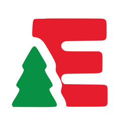 Red letter e with fir clip art christmas vector