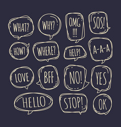 set different speech bubble in doodle style vector image