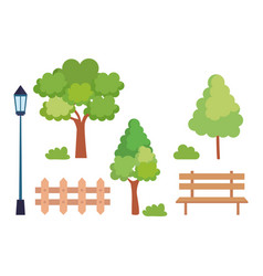 set icons park scene vector image