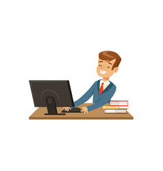 Smiling schoolboy using laptop computer vector