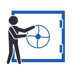 stickman opens the bank vault door vector image