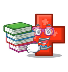 student with book cross mascot cartoon style vector image