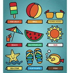 Summer beach icons set vector image
