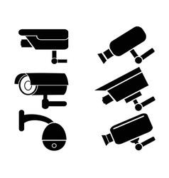 Surveillance security camera icons set vector