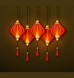 Traditional chinese red lanterns banner vector
