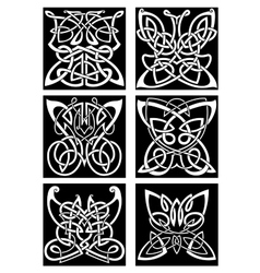 Tribal tattoos with celtic ornamental butterflies vector image