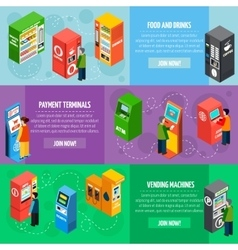 Vending payment machines isometric banners set vector