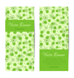 vertical banner green pattern with flowers vector image
