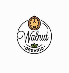walnut logo round linear vector image