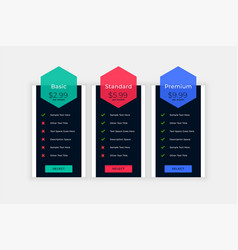 Web pricing table with plan details design vector