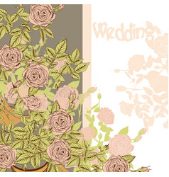 Wedding card with hand drawn roses vector