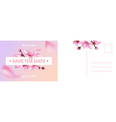wedding postcard romantic card with realistic vector image