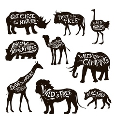 Wild Animals Lettering Black Icons Set vector image