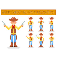 Wild west american retro gunman cowboy flat design vector