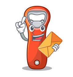 With envelope aluminium bottle opener for design vector