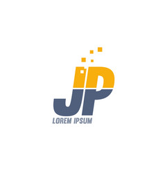 Yellow blue jp j p alphabet letter logo company vector