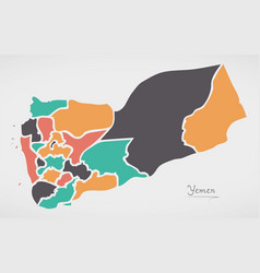 Yemen map with states and modern round shapes vector