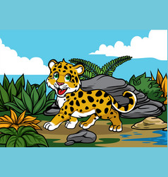 young leopard in the jungle vector image