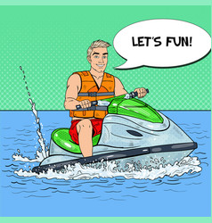 young man on jet ski water sports pop art vector image