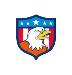 American Bald Eagle Head Angry Flag Crest Cartoon vector image vector image