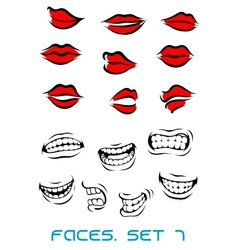 Cartooned lips and mouth set vector image vector image
