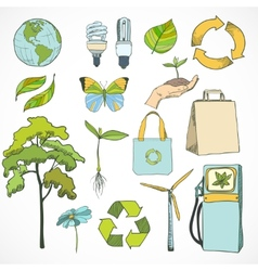 Doodles ecology and environment icons set vector image