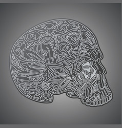 human skull made of flowers vector image vector image