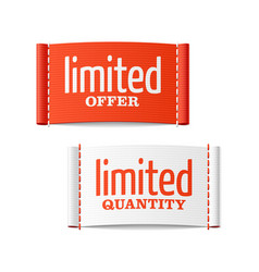limited offer and quantity clothing labels vector image vector image