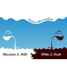 Milk hot chocolate flows from jug Spray drops vector image