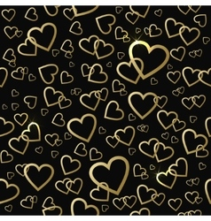 Seamless pattern with gold shining hearts vector image vector image