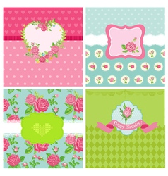 Set of Floral Card - Floral Shabby Chic Theme vector image vector image