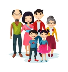 Adult family with happy kids or children vector image vector image