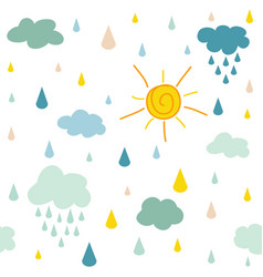 kids pattern with clouds rain drops and dots vector image