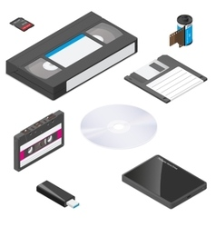 Storage media actual size proportions detailed vector