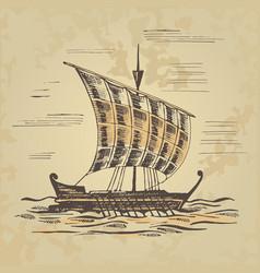 Ancient sailing ship at the oars vector