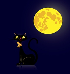 black cat and moon vector image vector image