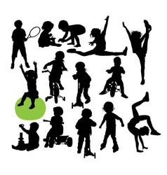 Children Sport Activity Silhouettes vector image