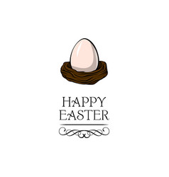 egg in the nest happy easter text vector image vector image