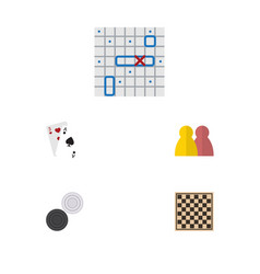 flat icon play set of sea fight people chess vector image
